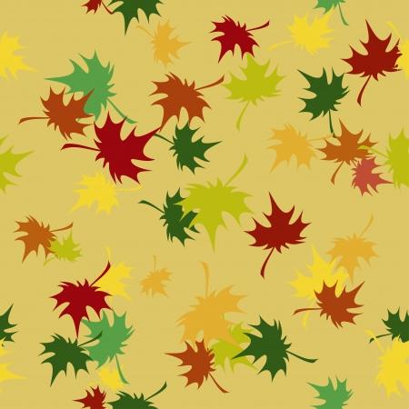 Seamless pattern with autumn colored maple leaves Vector