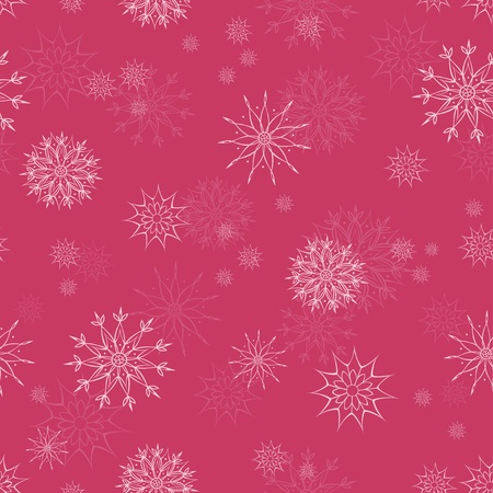 Christmas seamless pattern with snowflakes on red background  Illustration