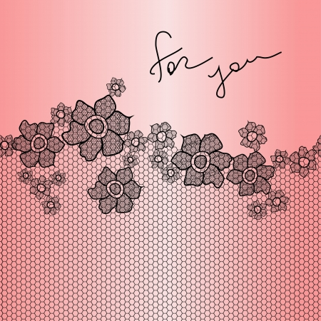 pink and black: Lace ornamental floral background