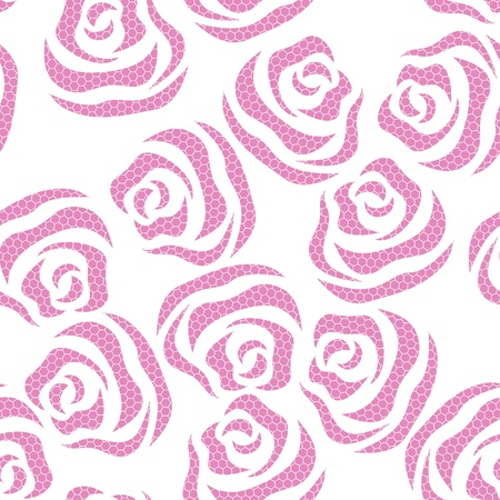 grunge wallpaper: Lace seamless pattern of roses on the white background