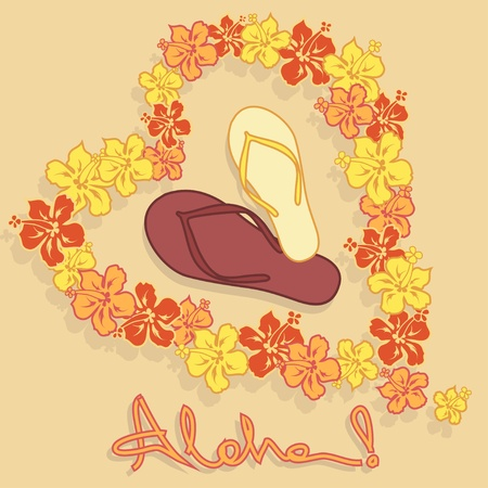 aloha: Illustration of Hawaiian flower garland, flip flops and text aloha