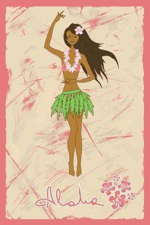 폴리네시아: 복고풍 배경에 훌라 춤 하와이 소녀 일러스트