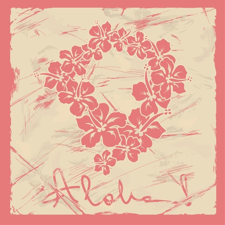 lei: Illustration of Hawaiian flower garland on a retro background