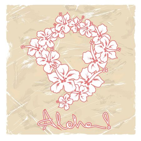 Illustration of Hawaiian flower garland on a retro background
