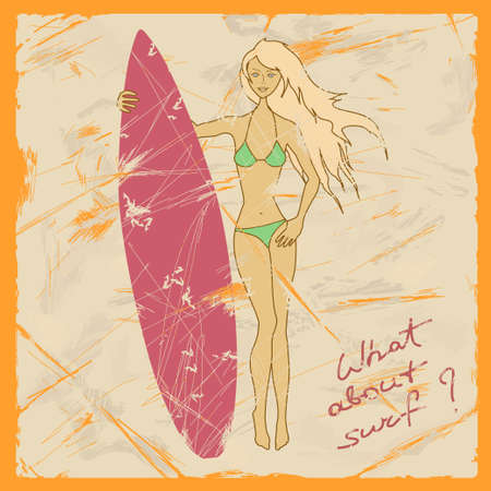 Illustration of beautiful girl with surfboard on a retro background Vector
