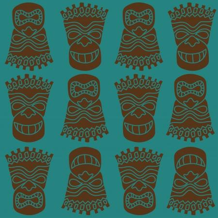 wooden mask: Carved Polynesian Tiki totem seamless pattern