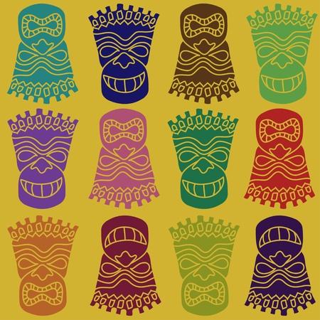 폴리네시아: 조각 폴리 네 시안 티키 토템 원활한 패턴 일러스트