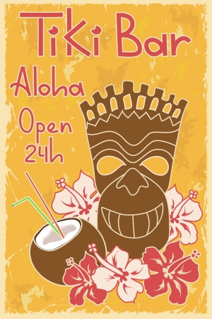 travel features: Vintage Hawaiian poster  Invitation to Tiki bar Illustration