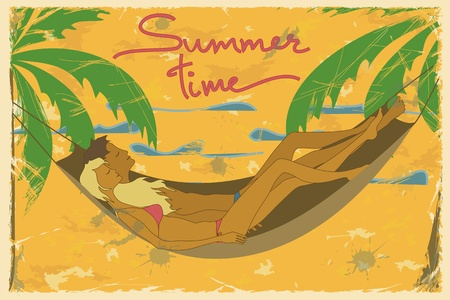 lying in: Illustration of couple lying in a hammock on a beach  Vintage background Illustration
