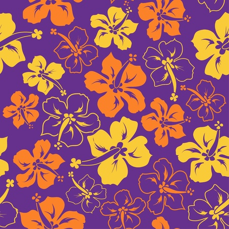 hawaiian lei: Colorful floral seamless pattern of hibiscus