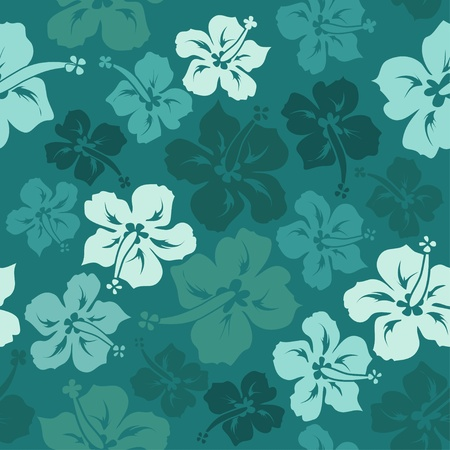 Hawaiian floral seamless pattern of hibiscus Vector