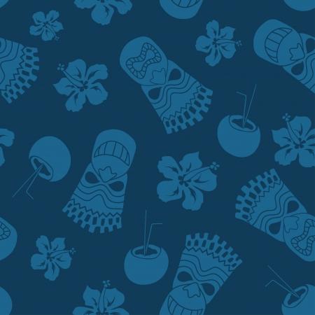 attribute: Naadloos patroon van tiki, kokos en hibiscus op een blauwe achtergrond Stock Illustratie