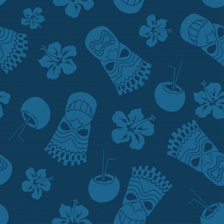 travel features: Seamless pattern of tiki, coconut and hibiscus on a blue background