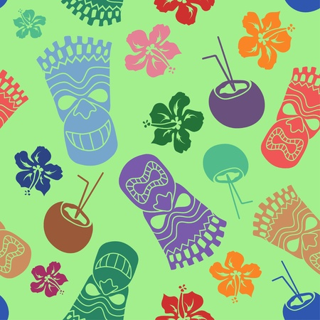 travel features: Colorful seamless pattern of tiki, coconut and hibiscus