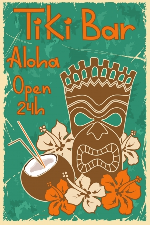 hawaiian culture: Vintage Hawaiian poster  Invitation to Tiki bar Illustration