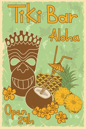 totem: Vintage Hawaiian poster  Invitation to Tiki bar Illustration