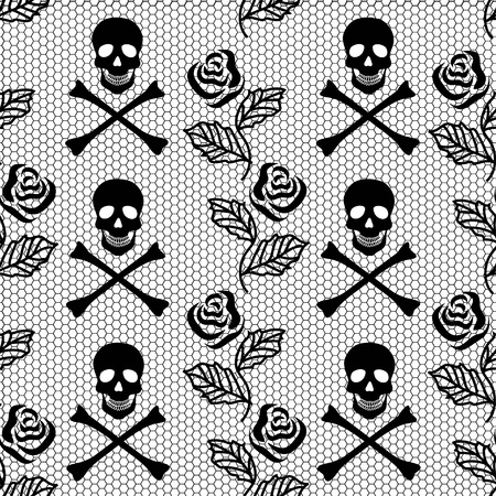 Lace seamless pattern of roses and skulls Vector