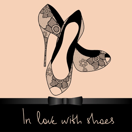 high heel shoes: Background of elegance lace pair of shoes with text in love with shoes