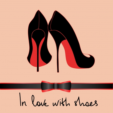 shoe: Background of elegance black pair of shoes with text in love with shoes