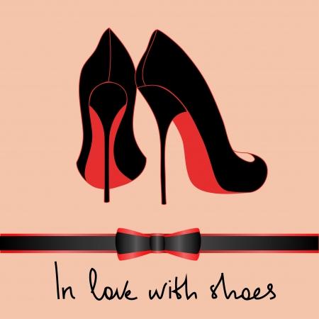 chaussure: Contexte de l'�l�gance noir paire de chaussures avec du texte en amour avec des chaussures