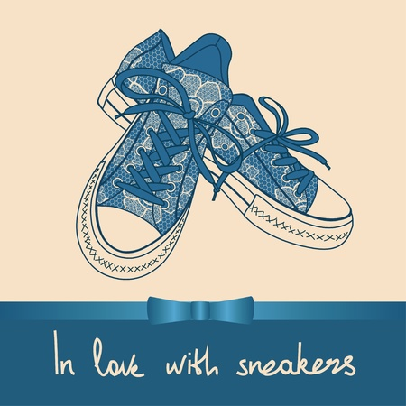 shoelaces: Background of lace pair of sneakers with text in love with sneakers