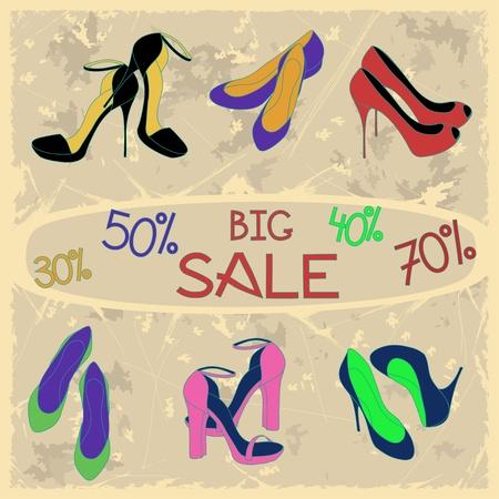 shoe sale: Poster of women shoes on sale on a vintage background Illustration
