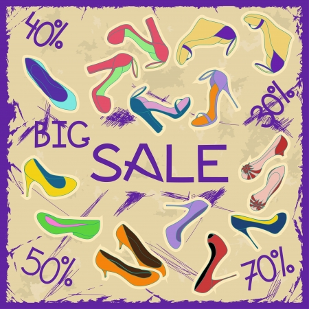 Poster of women shoes on sale on a vintage background Vector