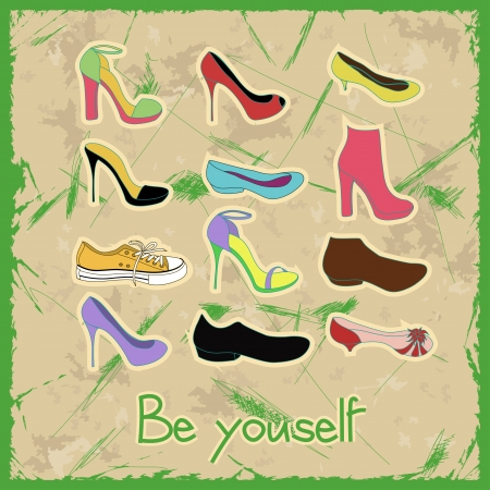 Poster of shoes on a vintage background with text be yourself Vector