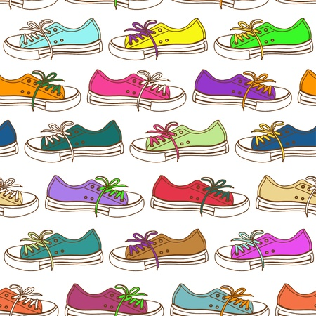 punk rock: Colorful seamless pattern of sneakers