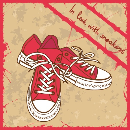 sneakers: Pair of sneakers on a retro background with text in love with sneakers Illustration