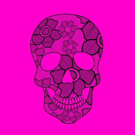 Illustration of black floral lacy skull on a pink background Vector