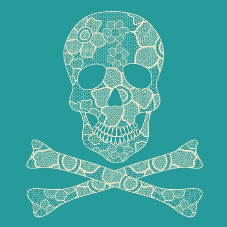 Illustration of beige floral lacy skull on a turquoise background Vector