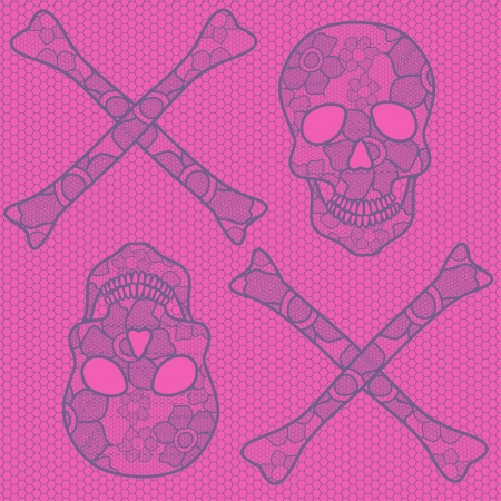 Seamless pattern of lace skulls on a soft pink background Vector
