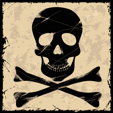 Black skull on a retro background Vector