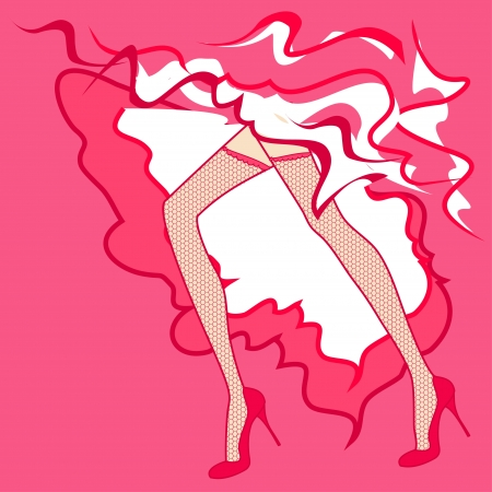 legs stockings: Showgirls legs in stockings dancing cancan Illustration