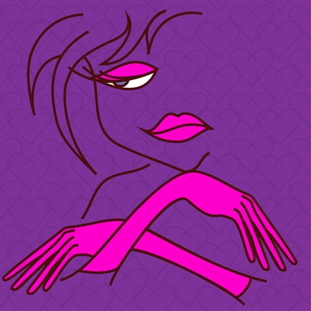 Showgirl face and hand in gloves contour Vector