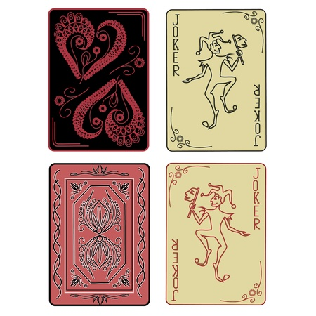 Set of retro Jokers of playing cards with back