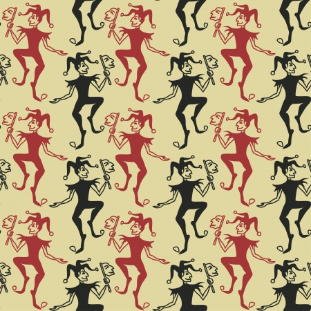 playing card symbols: Funny vintage seamless pattern of Jokers