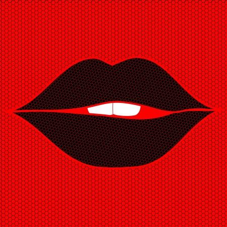 Black woman sexy lips on a lacy red background Stock Vector - 19969902