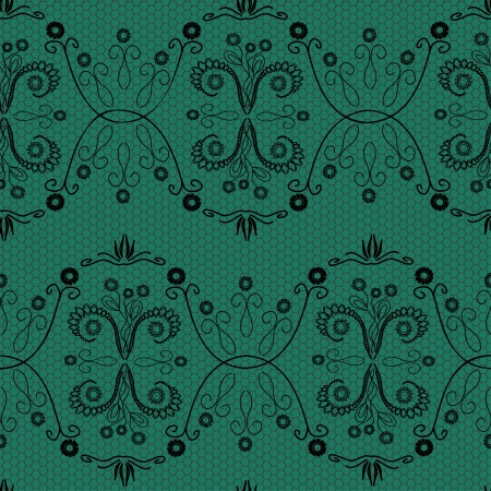 Lace floral fabric seamless pattern on a green background Stock Vector - 19968577