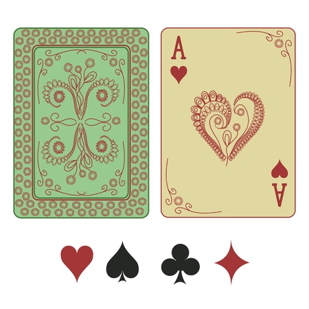 Vintage ace of hearts playing card with pattern back Vector