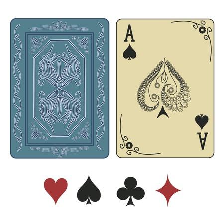 kartenspiel: Weinlese Pik-As Spielkarte mit Muster zur�ck Illustration