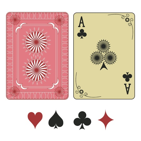 Vintage ace of clubs playing card with pattern back Stock Vector - 19969731