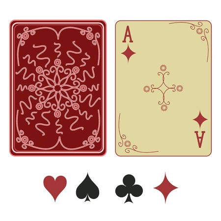 playing card set symbols: Vintage ace of diamonds playing card with pattern back Illustration