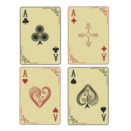 playing card symbols: Cuatro ases de la vendimia de jugar a las cartas con traje estampado Vectores