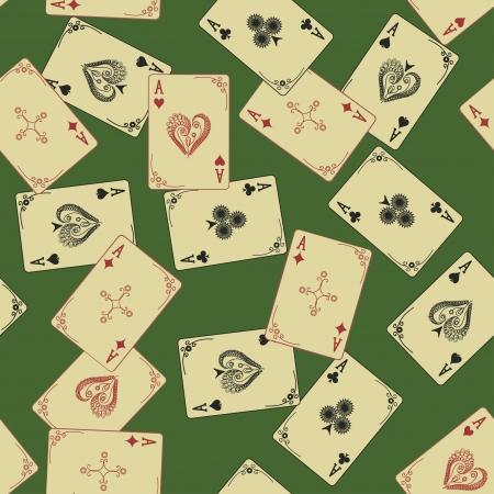 coeur diamant: Aces rétro de cartes à jouer seamless sur un fond vert