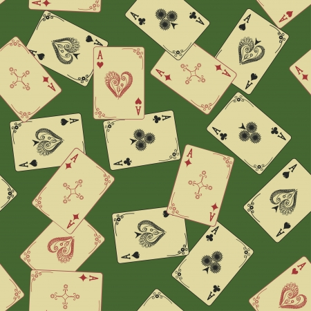 Retro Aces of playing card seamless pattern on a green background Vector