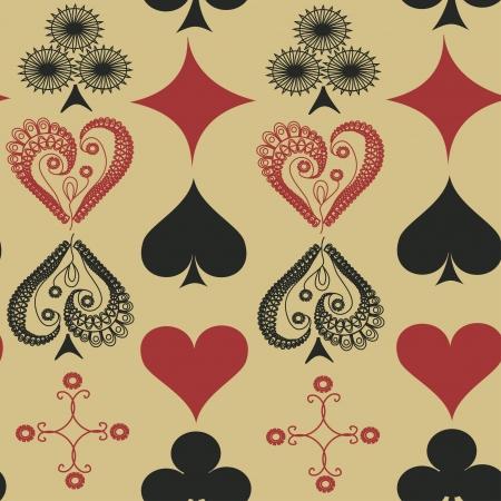 playing card symbols: Modelo incons�til de la vendimia de los trajes de naipes