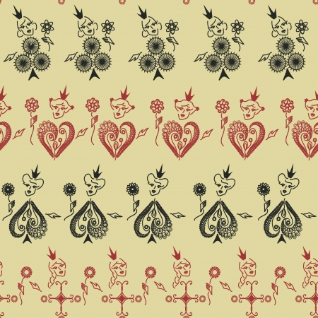 Funny vintage seamless pattern of Queens of playing cards Vector