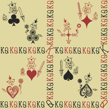 king and queen of hearts: Funny vintage seamless pattern of Kings and Queens of playing cards Illustration
